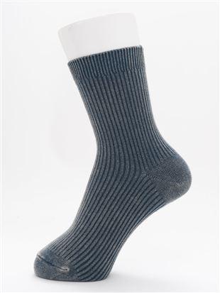 [レディライン]綿混古着風ウォッシュ加工リブソックス15cm丈|クルーソックス