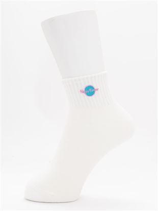 綿混ロゴ刺繍アメリブソックス10cm丈 