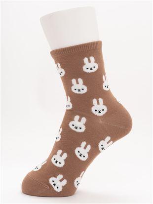 [ちょうどいい靴下]うさちゃん総柄温調ソックス14cm丈|
