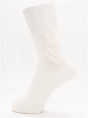 綿混くるくる耳付きワンちゃんソックス13cm丈|