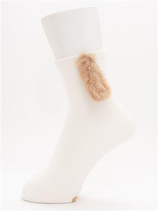 綿混耳付きワンちゃんソックス13cm丈|
