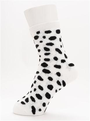 [ちょうどいい靴下]ダルメシアン柄温調ソックス14cm丈|