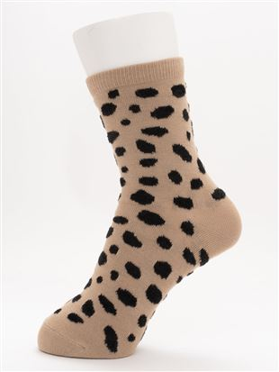 [ちょうどいい靴下]ダルメシアン柄温調ソックス14cm丈 
