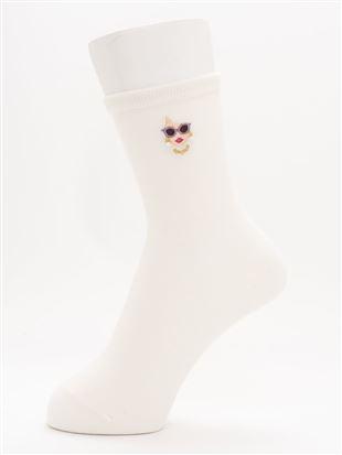 [ちょうどいい靴下]サングラスWOMAN柄刺繍温調ソックス14cm丈 