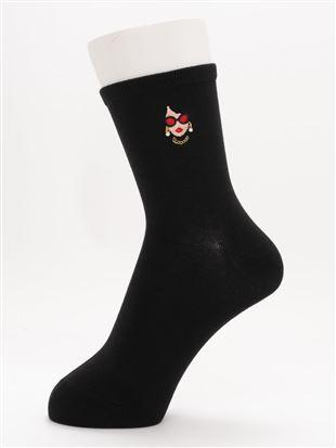 [ちょうどいい靴下]サングラスWOMAN柄刺繍温調ソックス14cm丈|