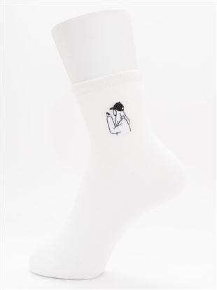 [ちょうどいい靴下]線画刺繍ソックス12cm丈|クルーソックス