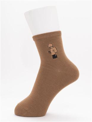 [ちょうどいい靴下]線画刺繍ソックス12cm丈|