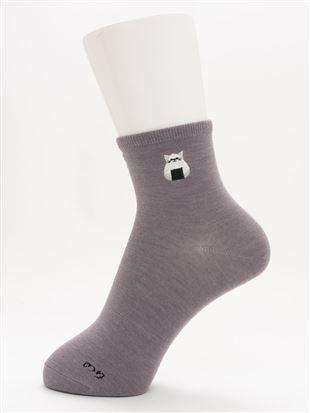 [ちょうどいい靴下]おにぎり刺繍温調ソックス12cm丈|