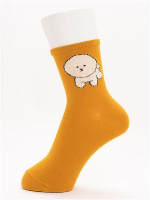 [ちょうどいい靴下]もふもふビションフリーゼ柄ソックス14cm丈 クルーソックス