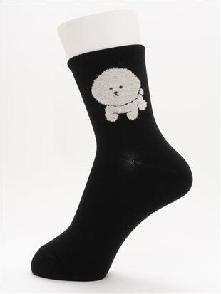 [ちょうどいい靴下]もふもふビションフリーゼ柄温調ソックス14cm丈|