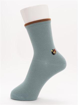 [ちょうどいい靴下]幅広口ゴム秋猫刺繍ソックス16cm丈|クルーソックス