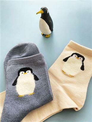 [ちょうどいい靴下]ペンギン柄ソックス14cm丈|クルーソックス