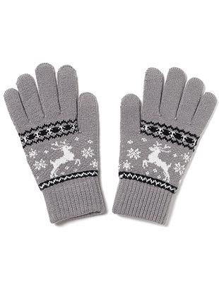 トナカイジャガード柄手袋|手袋