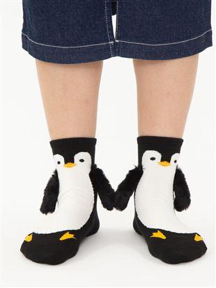 綿混ペンギンおてて付属ソックス14cm丈 クルーソックス
