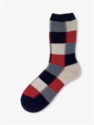 [メンズ]まるで毛布!のような暖かさ裏起毛ブロックチェック柄ソックス21cm丈|メンズソックス