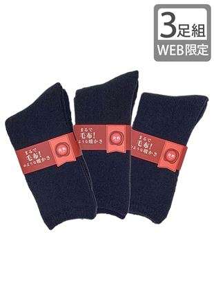 【3足組】まるで毛布!のような暖かさ発熱裏起毛ソックス23cm丈(WEB限定)|