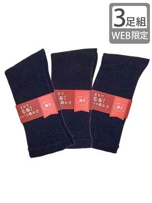 【3足組】まるで毛布!のような暖かさ裏起毛ソックス23cm丈(薄手タイプ)(WEB限定)|