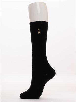 エッフェル塔刺繍綿混ハイソックス28cm丈|ハイソックス
