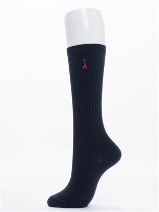 エッフェル塔刺繍綿混ハイソックス32cm丈|スクールソックス