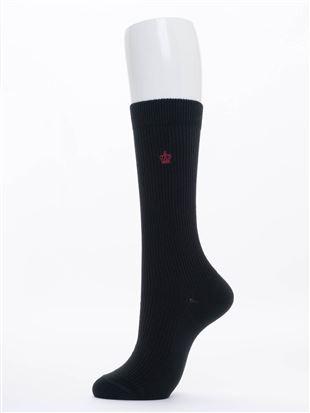 王冠刺繍綿混ハイソックス28cm丈|スクールソックス