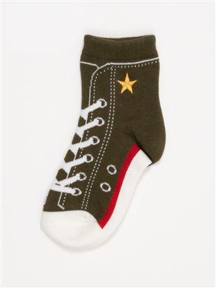 [キッズ]綿混星刺繍スニーカー柄ソックス10cm丈|