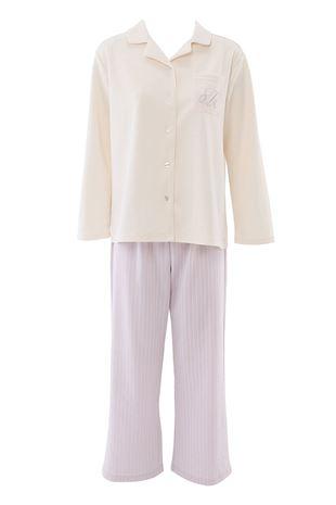 ボトムストライプ衿付き前開きダンボールパジャマ|