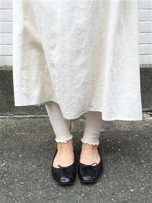 綿混裾メロウリブレギンス13分丈|レギンス