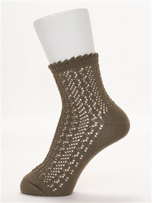 履き口フリル綿混ルミーソックス13cm丈|クルーソックス