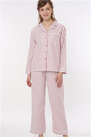 ストライプ柄前開き布帛長袖パジャマ|パジャマ