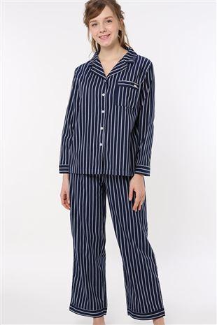ストライプ柄前開き布帛長袖パジャマ パジャマ