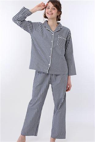 ギンガムチェック柄前開き布帛長袖パジャマ|パジャマ