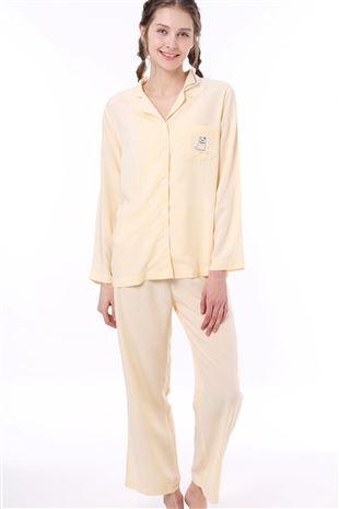 ねこ刺繍前開きレーヨン布帛長袖パジャマ|