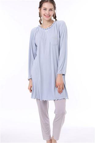 ポケット刺繍チュニックダンボール長袖パジャマ|パジャマ