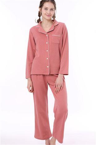 ドット柄衿付き前開きダンボール長袖パジャマ パジャマ
