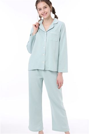 ドット柄衿付き前開きダンボール長袖パジャマ|パジャマ