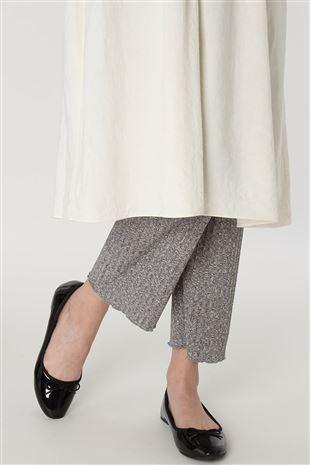 綿混裾メローワイド杢調レギンス10分丈|レギンス