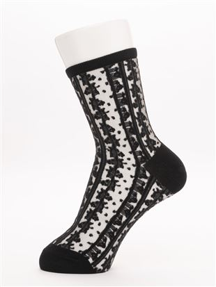 [レディライン]新彊綿縦花柄カラーシースルーソックス17cm丈|クルーソックス
