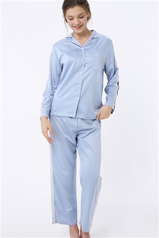 サテン無地サイドライン長袖パジャマ|パジャマ