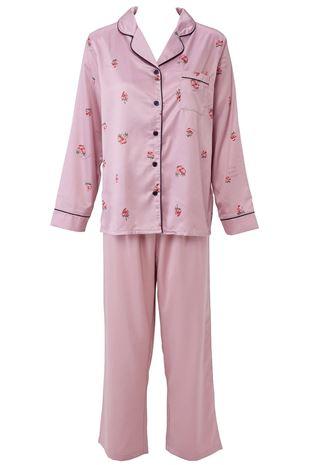 サテンいちご柄衿付前開き長袖パジャマ|パジャマ