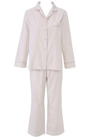 布帛ストライプ柄前開き長袖パジャマ|パジャマ
