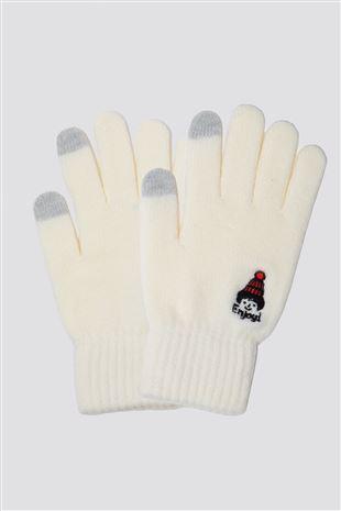 スマホ対応裏起毛ニット帽アフロ刺繍5本指手袋|