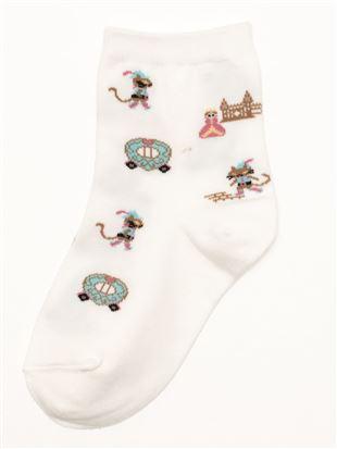 靴下を履いた猫柄綿混キッズソックス|キッズソックス